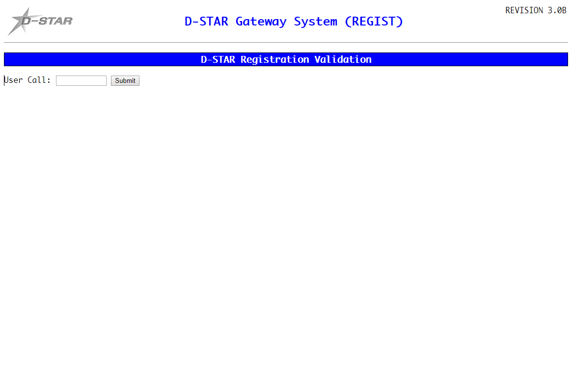 Screenshot of D-Star Registration Check page